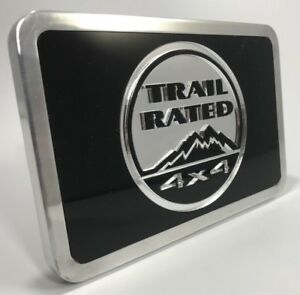 Tow Hitch Cover For Jeep Billet Aluminum W Black Trail Rated 4x4 Emblem Logo