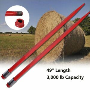 Two 49 3000 Lbs Hay Bale Spears W Nut Sleeve Spike Fork Tine Red Pair Conus 2