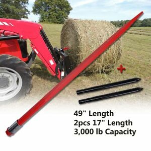 49 Square Hay Bale Spear 3000lbs 2x17 Stabilizer Spears Bale Spike Fork Tine
