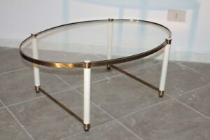Oval Low Coffe Table 1950s Italian Design Brass And Glass