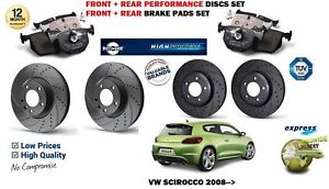 For Vw Scirocco R Tsi Tdi 2008 Front Rear Performance Brake Discs Pads Kit