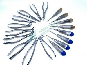 18 Pcs Oral Dental Extraction Surgery Extracting Elevators Forceps Instruments