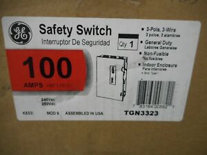 Ge Tgn3323 100 Amp 250 Volt Non Fusible Indoor 3 Phase Disconnect