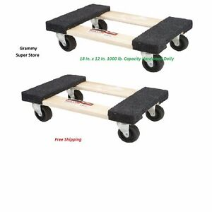 2x 1000lb Capacity 12 x 18 Movers Moving Garage Diy Heavy Duty Furniture Dolly