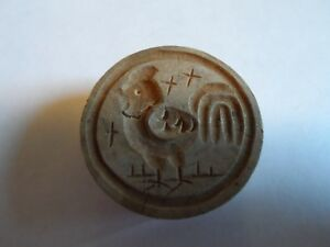 Vintage Small Wood Butter Mold Press Stamp With Hand Carved Rooster 1 3 16