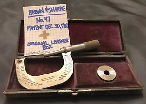 1902 Brown Sharpe 1 2 Micrometer No 47 leather Box set Ring vintage Machinist