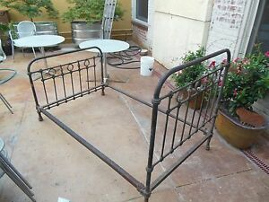 Beautiful Antique French Victorian Iron Brass Bed 19th Century