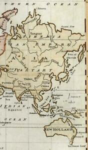 World 1809 Old Antique Map Early American Imprint New Holland
