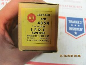 Vintage Nos Arrow hart 4354 3 Position Spdt Switch 5a 250v 10a 125v