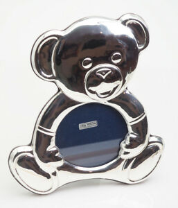 Gorgeous Large Teddy Bear Toy Sterling Silver Baby Child Photo Frame Italy