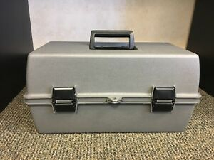 Brand New plastic Light Gray Storage Tool Box With 2 Cantilever Trays