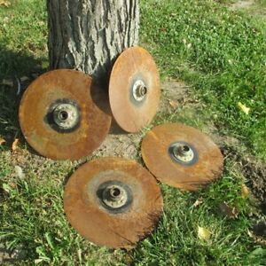 4 Plow Disc Blades Industrial Steampunk Farm International Vintage Cast Iron Z