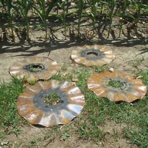 4 Ruffled Plow Disc Blades Industrial Age Steampunk Farm International Vintage A