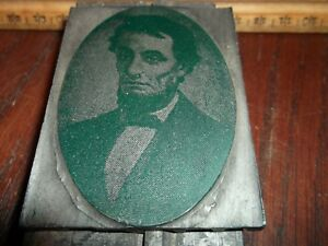 Antique Abraham Lincoln Western Union Newspaper Cut Printing Letterpress Vintage
