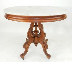 Large Victorian Intricately Carve Walnut Parlor Table 34 5 Inches