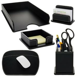 5pc Office Desk Organizer Set Tray Mousepad Card Note Pen Holders Racks Display