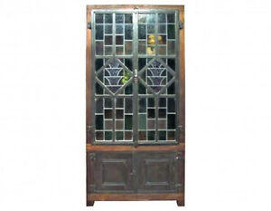 Antique Wooden Wardrobe Stained Glass Doors A3034