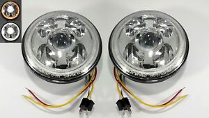 Pair Premium 7 High Power Cree Led Projection Headlight Dual Color Halo Ring