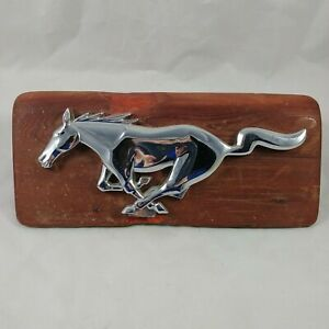 Vintage Homemade Ford Mustang Grill Emblem Mounted On Wood Plaque Desk Display