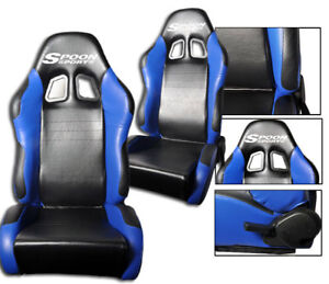 New 1 Pair Blue Black 2 Tone Pvc Leather Racing Seats Fits Honda With Logo