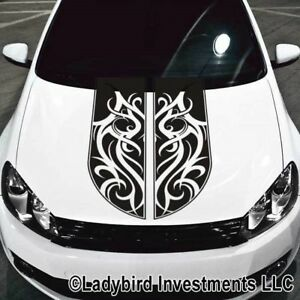 Tribal Scroll Rally Hood Stripes Decal Universal Fits Most Cars And Trucks