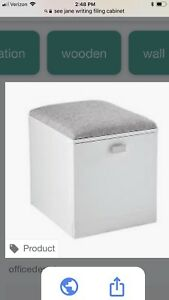 White Contemporary Filing Cabinet Seat Brand New Original Packaging
