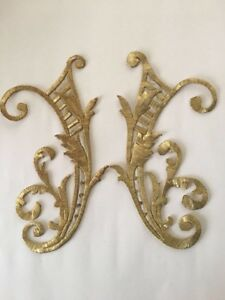 Antique Ottoman Turkish Gold Metallic Hand Embroidery F Applique Initial H