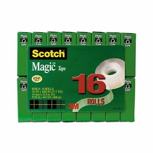 Scotch Magic Matte Finish Tape Writeable 3 4 X 1000 Inches Boxed 16 Rolls