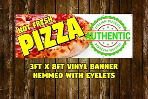 New Pizza Vinyl Banner 3 X 8 Hemmed With Eyelets Business Storefront