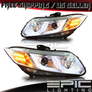 2012 2015 Honda Civic 4 door Sedan Drl Bar Projector Led Headlights Chrome