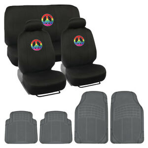 Rainbow Peace Sign Car Seat Covers Waterproof Gray Rubber Floor Mats 13pc