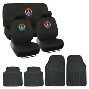 Car Seat Covers Rainbow Peace Sign All Weather Rubber Floor Mats 13pc