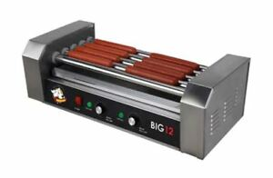 Stainless Steel Hot Dog Cooker 12 Roller Drip Tray Electric Grill Commercial New