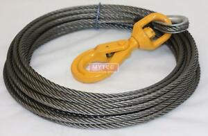 Wire Rope Steel Core Winch Cable 3 8 X 50 Swivel Hook Replaces B a 4 38ps50lh