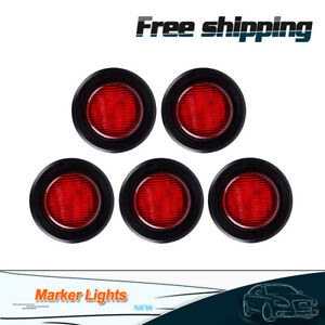 5pcs 2 Inch Red 12 Led Round Stop Turn Tail Truck Light With Grommet