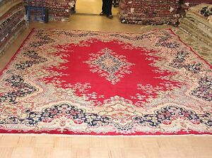 9 9 X 12 8 Persian Kerman Hand Knotted Wool Red Blue Salmon Oriental Rug