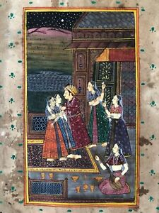 Original Indian Miniature Painting Harem Love Scene Rajasthani Handmade Folk Art