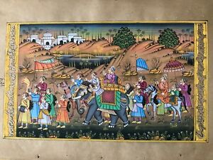 Original Indian Miniature Painting Royal Procession Rajasthani Handmade Folk Art