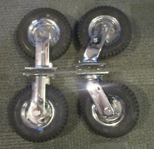 8 Pneumatic Casters wheels Chrome Plated Set Of 4 2 Fixed And 2 Swivel
