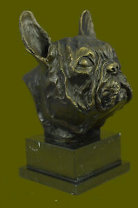 Bronze Sculpture Bust Head Of A French Bulldog Hot Cast Marble Base Figure Gift