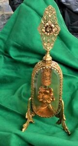 Vintage Vanity Perfume Bottle Ormolu Filigree Flower Accet Amber Glass W Dauber