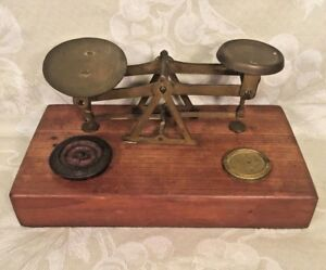 Antique Balance Scale With Brass Pans Wood Base 2 Weights
