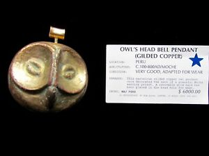 Owl S Head Bell Pendent Pre Columbian C 100 To 800ad Moche