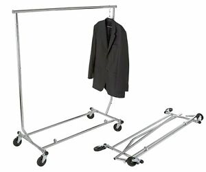 True Commercial Collapsible Clothing Salesman Rolling Garment Display Rack
