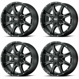 Set 4 17 Moto Metal Mo970 Black Milled Wheels 17x9 8x6 5 12mm Chevy Gmc 8 Lug