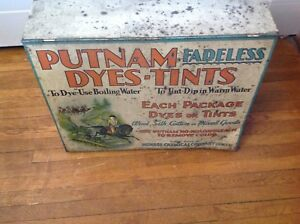 Antique Putman Dyes Tint Cabinet Store Display Table Top Cabinet 19x14 5x7 5