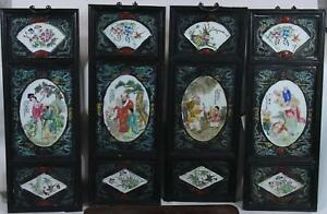 Set 4 China Chinese Polychrome Luo Han Porcelain Wood Panels Ca 20th