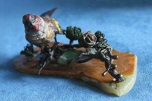 Antique Signed Franz Bergman Austrian Vienna Cold Painted Bird On Branch Bronze