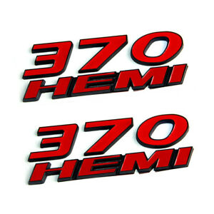 2x Oem 370 Hemi Emblems Decal 3d Y For Dodge Challenger Chrysle Mopar Black Red