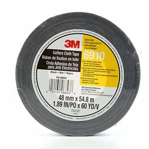 New 3m Cloth Gaffers Tape 6910 Black 48 Mm X 54 8 M 12 0 Mil pack Of 1